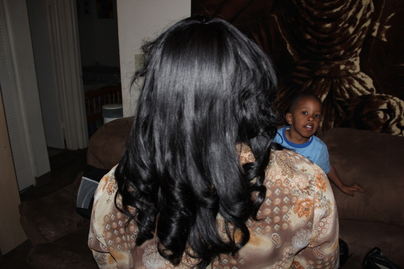 Full Sew- In with curls (back view)
